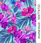 vector exotic floral pattern on ... | Shutterstock .eps vector #504776722