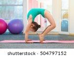 flexible little girl gymnast... | Shutterstock . vector #504797152