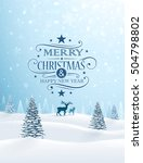 christmas card with reindeer... | Shutterstock .eps vector #504798802