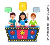 kids playing quiz game... | Shutterstock .eps vector #504803248