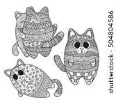 illustration set of boho... | Shutterstock . vector #504804586