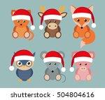 set of funny animals in santa... | Shutterstock . vector #504804616