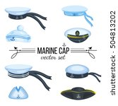 marine caps  sailor hat  peaked ... | Shutterstock .eps vector #504813202