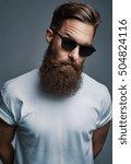single long bearded man in... | Shutterstock . vector #504824116