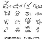 seafood and sea animal in... | Shutterstock .eps vector #504826996