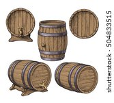 Set Of Wooden Barrels  Sketch...
