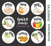 spices and herbs jar labels and ... | Shutterstock .eps vector #504859795
