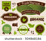 organic labels set of organic... | Shutterstock .eps vector #504868186