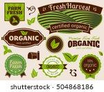 organic labels set of organic... | Shutterstock .eps vector #504868186