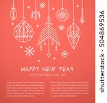 new year greeting card template ... | Shutterstock .eps vector #504869536