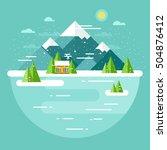 vector winter landscape.... | Shutterstock .eps vector #504876412