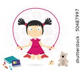 girl play with a skipping rope | Shutterstock .eps vector #50487997