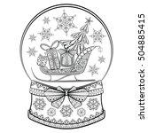 Hand Drawn Snow Globe With...