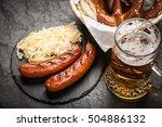 pretzels  bratwurst and...   Shutterstock . vector #504886132
