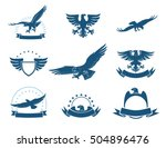 set of black and white eagles... | Shutterstock .eps vector #504896476