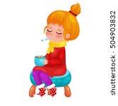 children get sick. girl has... | Shutterstock .eps vector #504903832