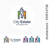 real estate logo design vector... | Shutterstock .eps vector #504913738