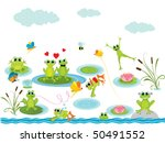 Summer Background With Frogs