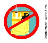 forbidden to smoke in bed. red... | Shutterstock .eps vector #504915796