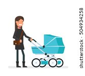 Woman With Stroller Vector...