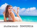 long haired girl in bikini on... | Shutterstock . vector #504939016
