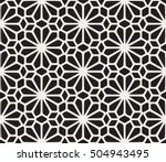 Stock vector vector seamless black and white lace floral pattern abstract geometric background design 504943495