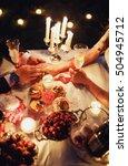 groom holds the hand of bride | Shutterstock . vector #504945712
