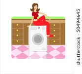 house keeper sitting on a... | Shutterstock .eps vector #50494645