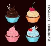 cupcakes. set of vector tasty... | Shutterstock .eps vector #504949258