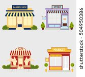 market street store barbershop... | Shutterstock .eps vector #504950386