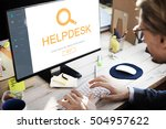 customer service helpdesk... | Shutterstock . vector #504957622