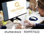 customer service helpdesk... | Shutterstock . vector #504957622