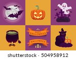 vector halloween icon set. | Shutterstock .eps vector #504958912