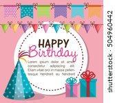 happy birthday invitation card | Shutterstock .eps vector #504960442