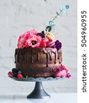 wedding cake with flowers... | Shutterstock . vector #504960955