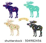 vector image of a moose with... | Shutterstock .eps vector #504982456