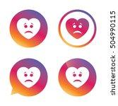 sad heart face sign icon....   Shutterstock .eps vector #504990115