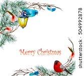 christmas background with fir... | Shutterstock . vector #504992878