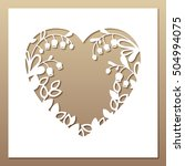 openwork square card with heart ... | Shutterstock .eps vector #504994075