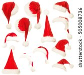 set of santa hat isolated on... | Shutterstock . vector #505008736