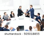 shake hands after successful... | Shutterstock . vector #505018855