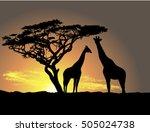 Giraffes At Sunset Silhouette