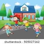 children rollerskating on the... | Shutterstock .eps vector #505027162