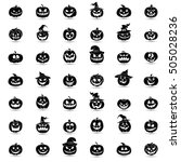halloween pumpkin 42 icons set. ...   Shutterstock .eps vector #505028236