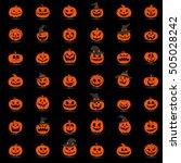 halloween pumpkin 42 icons set. ...   Shutterstock .eps vector #505028242