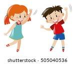 boy and girl dancing... | Shutterstock .eps vector #505040536
