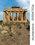 Small photo of SELINUNTE, ITALY - AUGUST 11 2016: Temple E (490-480 BC) in Selinunte, thought to be dedicated to Hera, considered to be one of the finest examples of Doric architecture in Sicily.