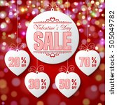 valentines day sale. set of... | Shutterstock . vector #505049782
