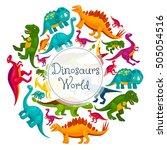 dinosaurs world poster. vector... | Shutterstock .eps vector #505054516