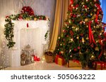 christmas tree with fireplace ... | Shutterstock . vector #505063222